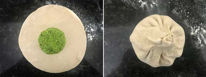 Peas mixture ball placed in the centre of the rolled disc and sealed