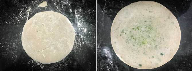 Peas stuffed dough ball rolled into paratha