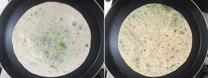 Matar paratha aka peas paratha cooking on flat griddle or tawa