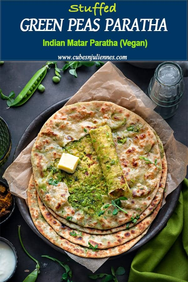 Matar Paratha or sweet Peas Paratha is a true winter breakfast recipe of North India. A delicious stuffed flatbread of fresh peas mixed with spices, served with butter and pickle is heaven on plate. #howtomake #green #peas #recipe #Indian