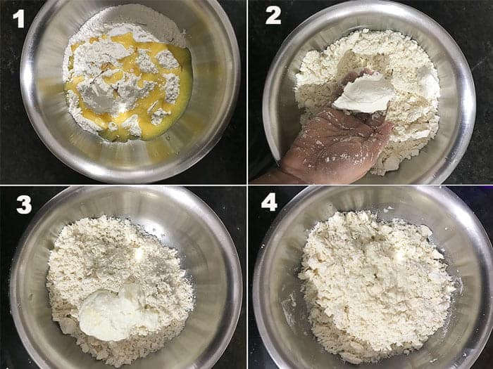 Step by Step collage for kneading the dough to make balushahi recipe