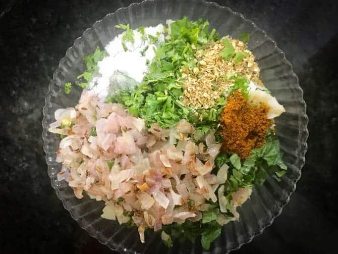 Boiled potato, sautéed onions, garam masala, mint, coriander, salt and chaat masala added in bowl