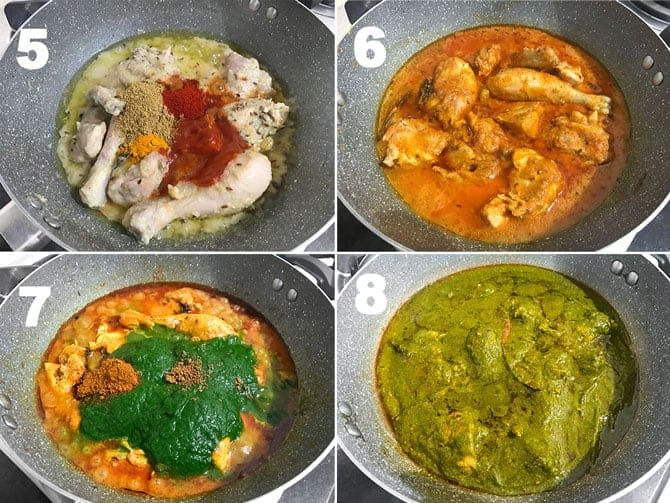 Step by step collage process to make chicken saag recipe.
