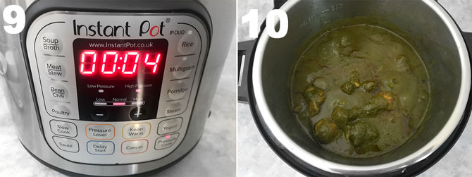 Step by Step collage process to make instant pot chicken saagwala recipe.