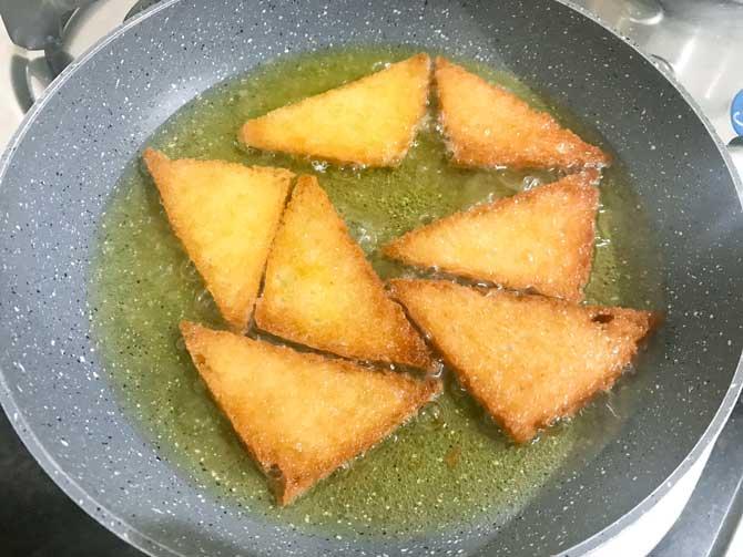Bread slices fried until golden and crisp