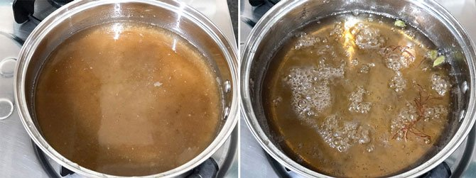 Step by Step collage for the making of sugar syrup for Shahi Tukda Recipe