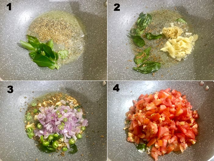 Step by step collage for the making of tomato chutney recipe