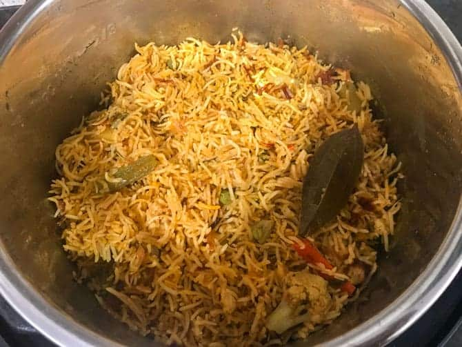 Instant pot vegetable biryani ready to serve