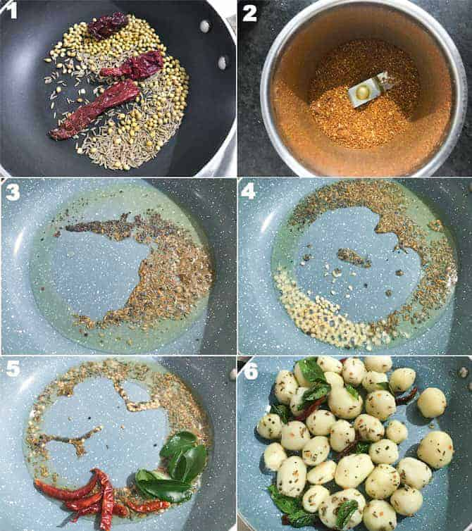 Step by step collage for the making of masala roast baby potatoes recipe