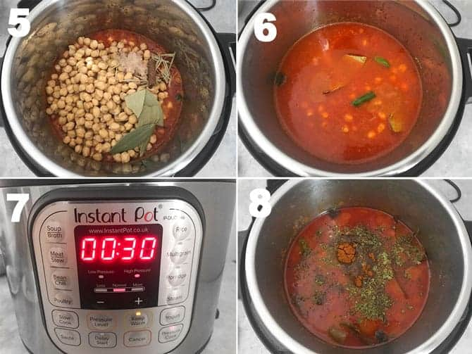 Step by step process to make chana masala recipe or chole recipe in instant pot.