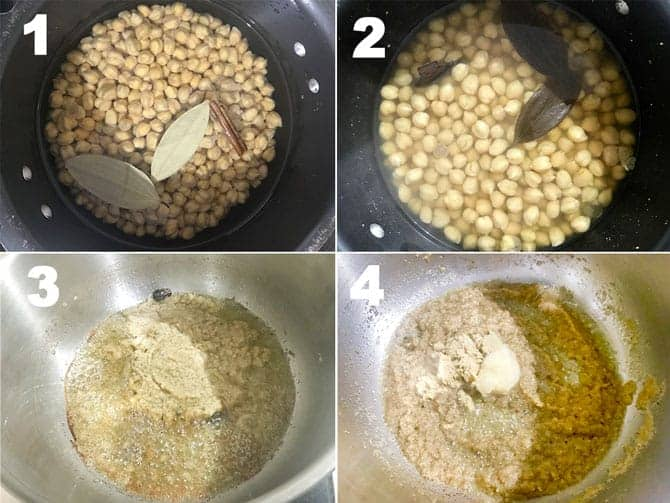 Step by step process to make Chana Masala recipe in pressure cooker on stove top.