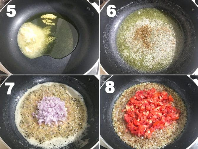 Step by Step collage process to make dal makhani recipe on stove top.