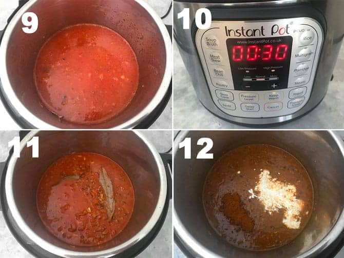 Step by Step collage process to cook dal makhani in instant pot pressure cooker.