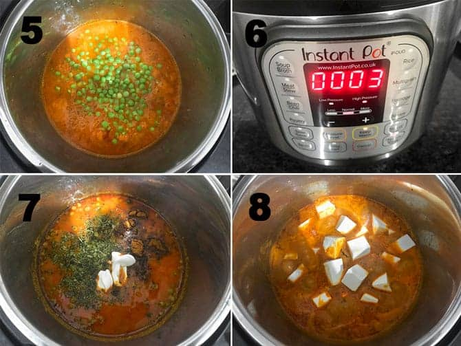 Step by Step collage process of making matar paneer in Instant Pot.