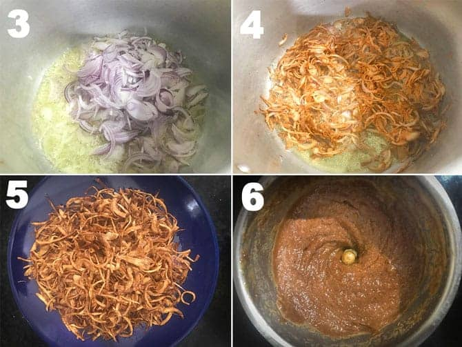Step by step collage for the preparation of mutton korma recipe.