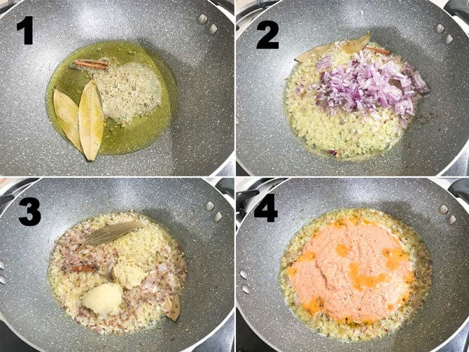 Step by Step collage process of making matar paneer recipe on stove top.