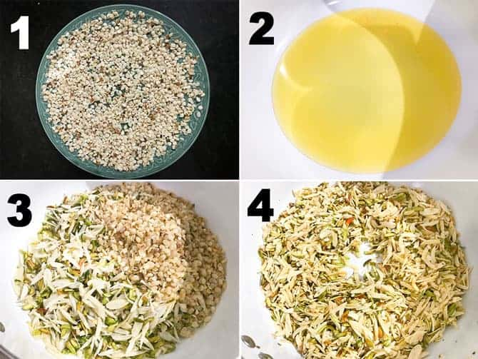 Step by step collage of process to make sheer khurma recipe.