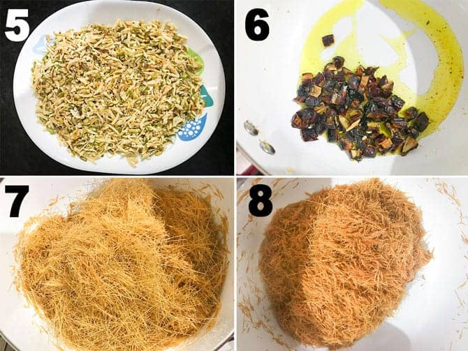 Step by step collage of process to make sheer korma recipe.