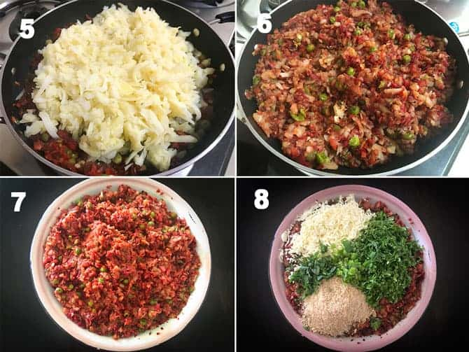 Step by Step collage of process to make vegetable cutlet recipe.