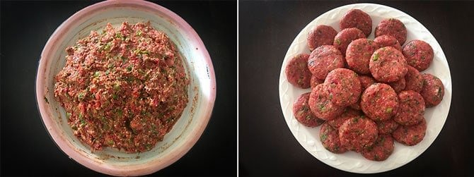 Step by Step collage of process to shape veg cutlets.