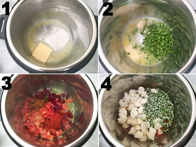 Step by Step collage process to make pav bhaji recipe in instant pot.