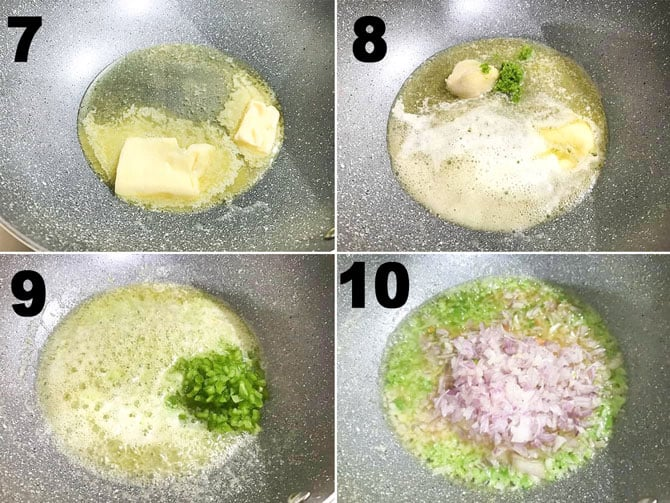 Step by Step collage process to make pav bhaji recipe on stove top.