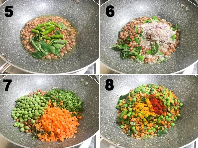 Step by Step collage process for the making of semiya upma recipe.