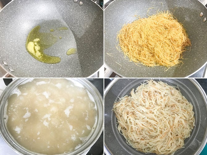 Step by Step collage process to boil vermicelli for the making of upma.