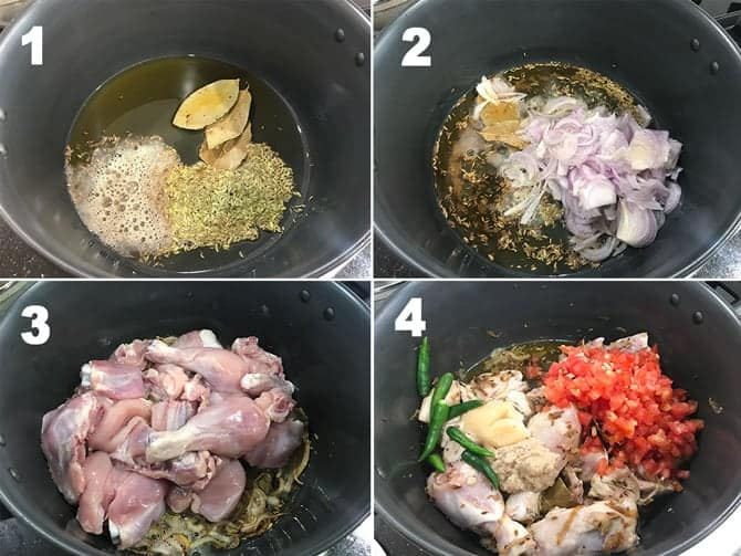 Step by step collage of the process to make chicken pulao recipe on stove top.
