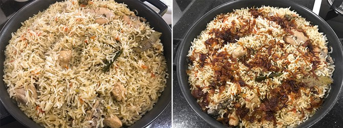 Cooked chicken pulao in a pot.