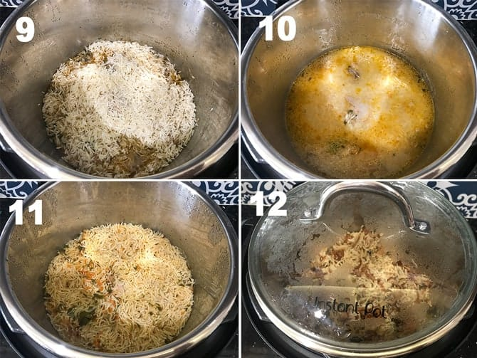 Step by step collage of the process to make chicken pulao recipe in Instant pot.