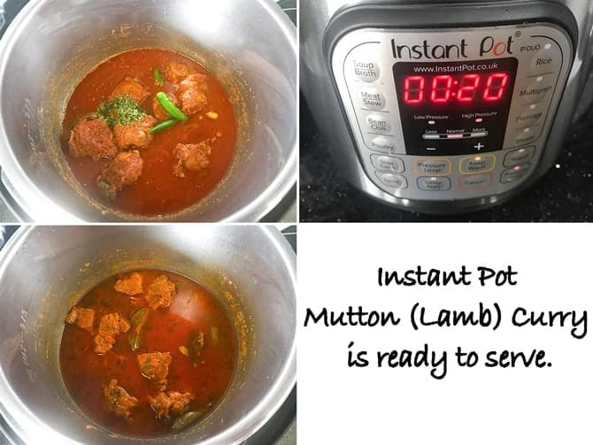 Step by Step collage for the process of making lamb curry recipe in Instant pot.
