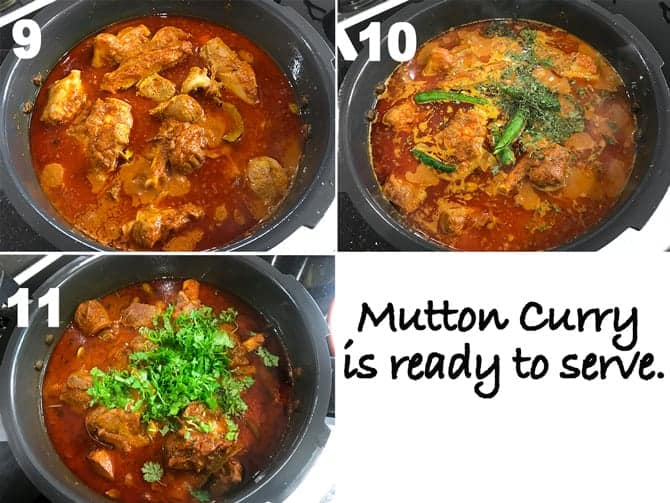 Step by Step collage for the process of making mutton curry recipe in pressure cooker on stove top.