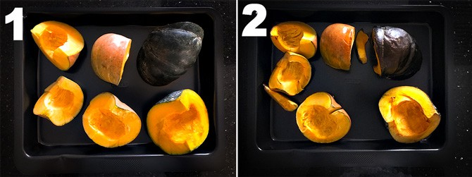 Step by step picture collage of the process to make pumpkin puree in oven.