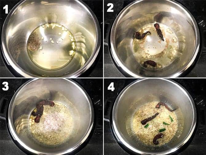 Step by step picture collage to make palak paneer in instant pot.