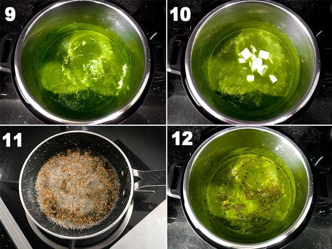 Step by step picture collage to make palak paneer recipe in instant pot.