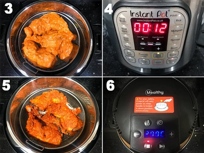 Step by Step picture collage to make tandoori chicken in instant pot.