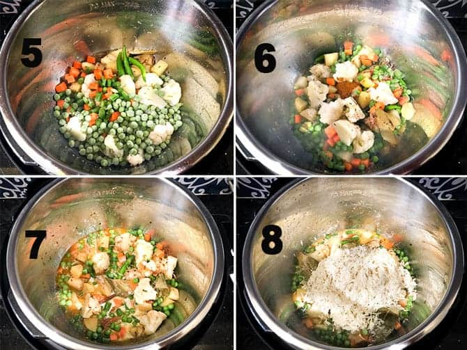 Step by Step collage of the process for the making of vegetable pulao in instant pot.
