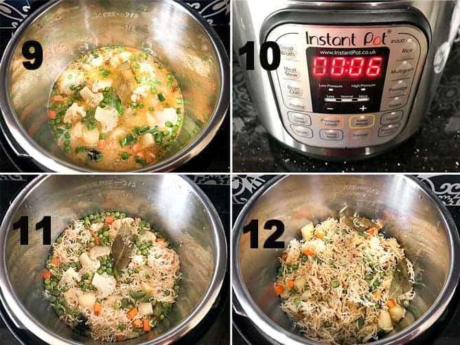 Step by Step collage of the process for the making of veg pulao in instant pot.