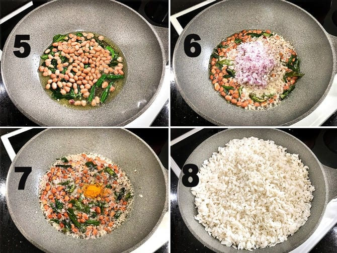 Step by Step picture collage of the process to make poha.
