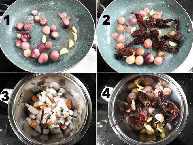 Step by step picture collage to make Kerala style red coconut chutney recipe.