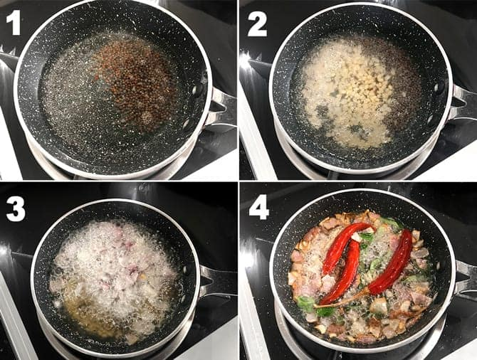 Step by step picture collage to make tempering or tadka for Kerala style red coconut chutney.