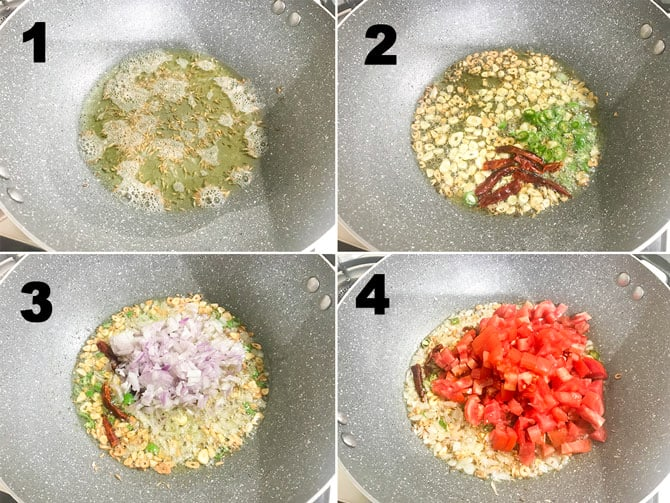 Step by step picture collage to make palak paneer recipe in pot on stove top.