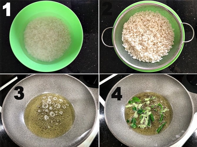 Step by Step picture collage of the process to make poha recipe.