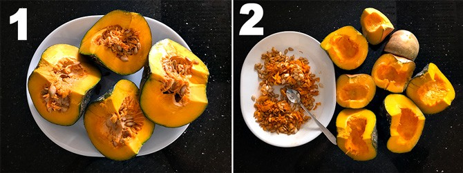 Step by step collage process to make pumpkin puree.