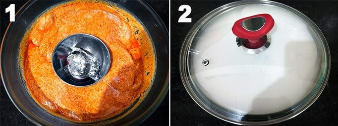 step by step collage of the process to smoke the marinated chicken.
