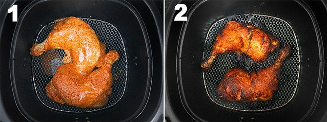 Step by Step collage of the process of cooking tandoori chicken in airfryer.