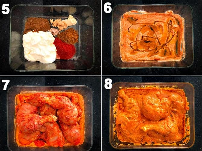 Step by step collage for the process of second marination to make chicken tandoori.