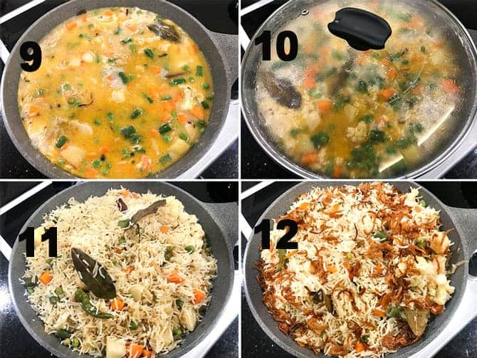 Step by Step collage of the process for the making of veg pulao in pot on stove top.