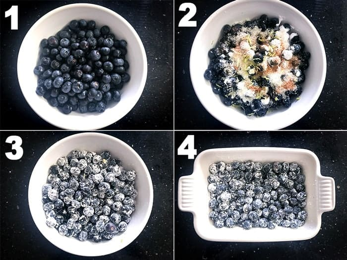 Step by step picture collage of making blueberry crisp recipe.